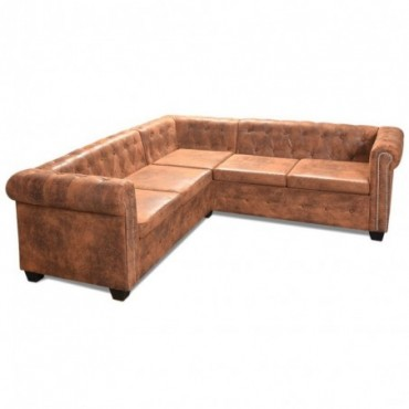 Canapé d'angle Chesterfield 5 plcs en cuir artificiel Marron