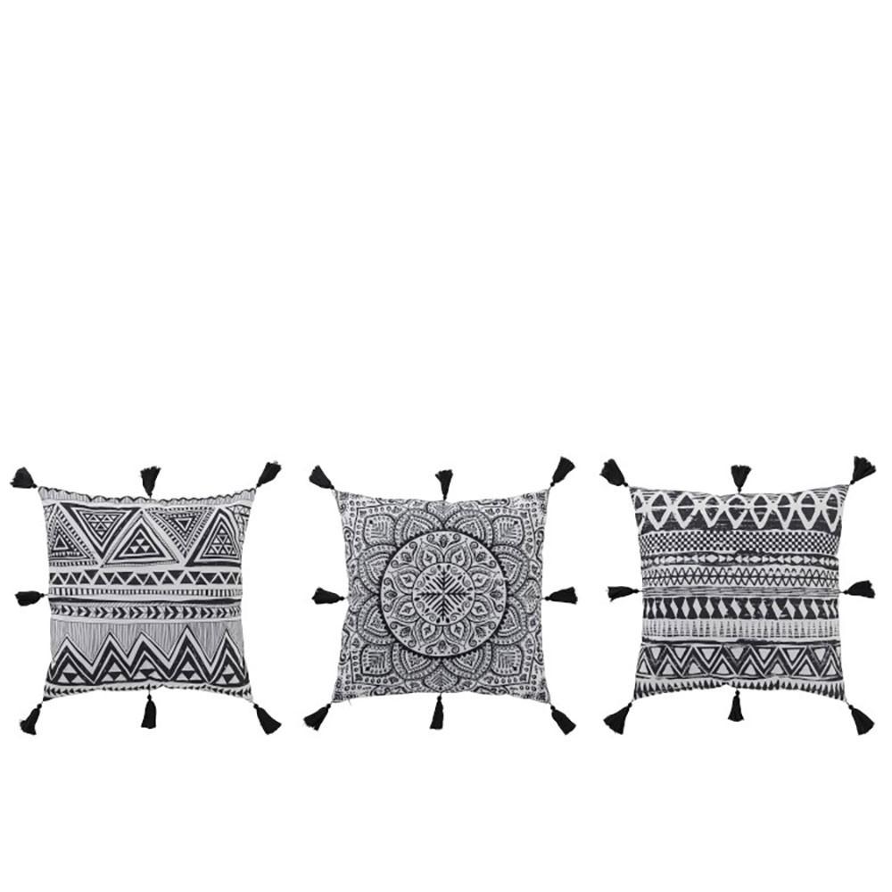 Coussin Motifs Polyester Noir/Blanc (Assortiment de 3)
