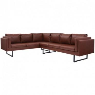Canapé d'angle en cuir artificiel Marron