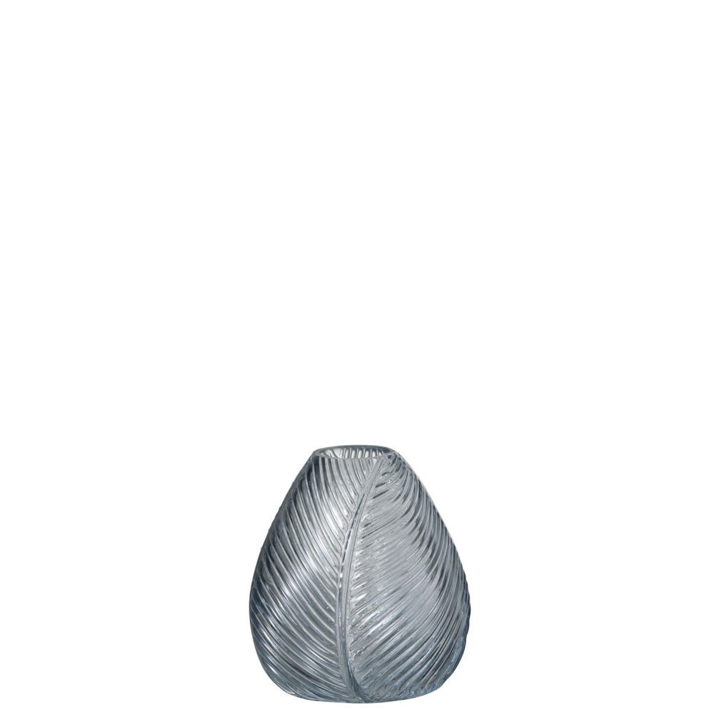 Vase Nervure Verre Bleu Gris Small