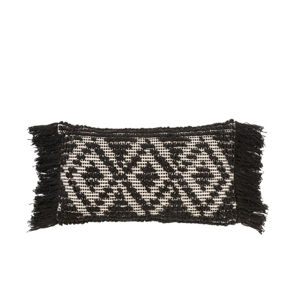 Coussin Monochrome Franges Coton Noir/Blanc