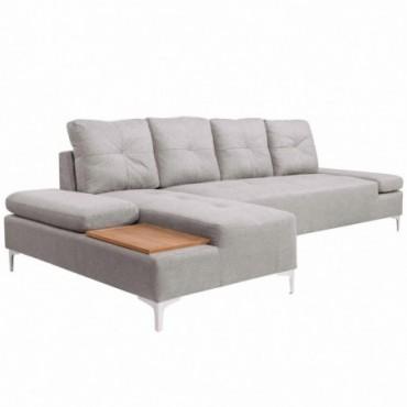 Canapé en L avec plateau en bois en tissu Gris crème XXL 300cm