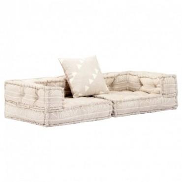 Canapé modulaire à 2 places avec accoudoirs Beige en tissu