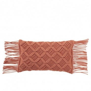 Coussin Macrame Long Coton Orange