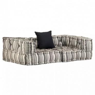 Canapé modulaire à 2 places avec accoudoirs en tissu à rayure