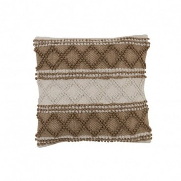 Coussin Losanges Coton Beige/Blanc