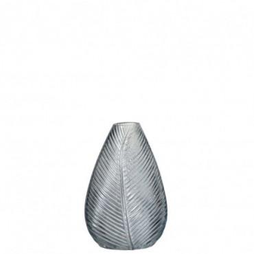 Vase Nervure Verre Bleu Gris Medium