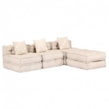 Canapé 3 places Beige en tissu Dimensions : 180x140x60cm (lxPxH)