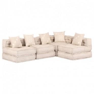 Canapé d'angle 4 places Beige en tissu