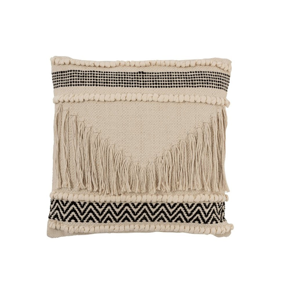 Coussin Franges Coton Noir/Blanc