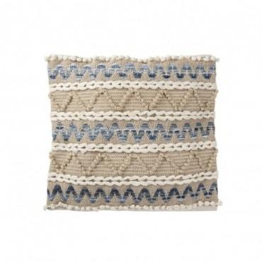 Coussin Denim Carre Coton Bleu/Blanc