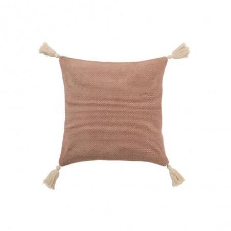 Coussin Crochete Pompons Coton Rose