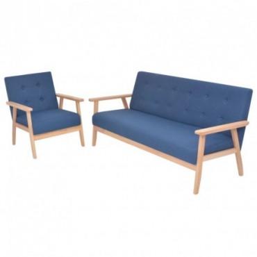 Canapé + fauteuil en tissu bleu Dimensions : 158x67x73,5cm (IxPxH)