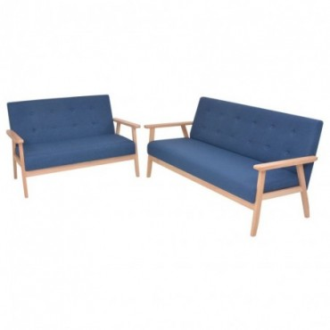 Canapé 2 pièces en tissu bleu Dimensions : 158x67x73,5cm (IxPxH)