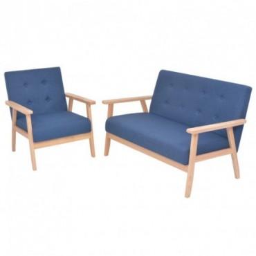 Canapé + fauteuil en tissu bleu Dimensions : 113,5x67x73,5cm (IxPxH)