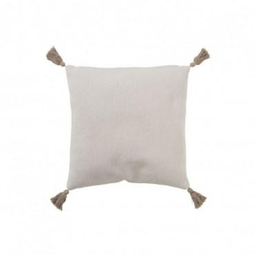 Coussin Crochete Pompons Coton Blanc