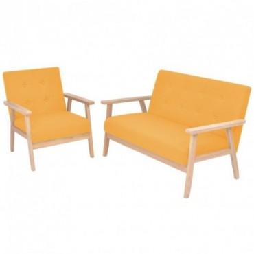 Canapé + fauteuil en tissu jaune Dimensions : 113,5x67x73,5cm (IxPxH)
