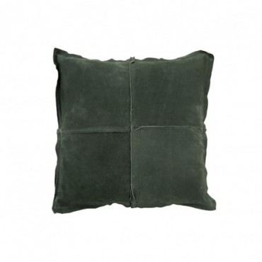 Coussin Carre Vert Cuir/Lin
