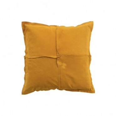 Coussin Carre Ocre Cuir/Lin