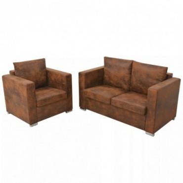 Canapés 2 places + fauteuil en cuir daim synthétique