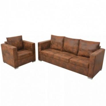 Canapés 3 places + fauteuil en cuir daim synthétique