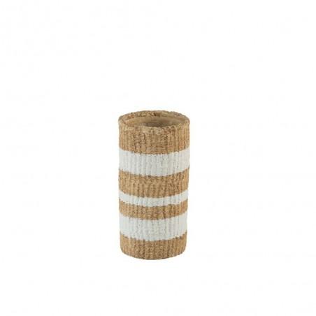 Vase Lignes Ciment Naturel/Blanc