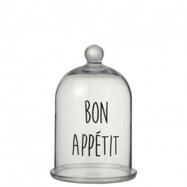 Cloche Bon Appetit Rond Verre Transparent/Noir