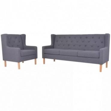 Canapés 3 places + fauteuil en tissu Gris