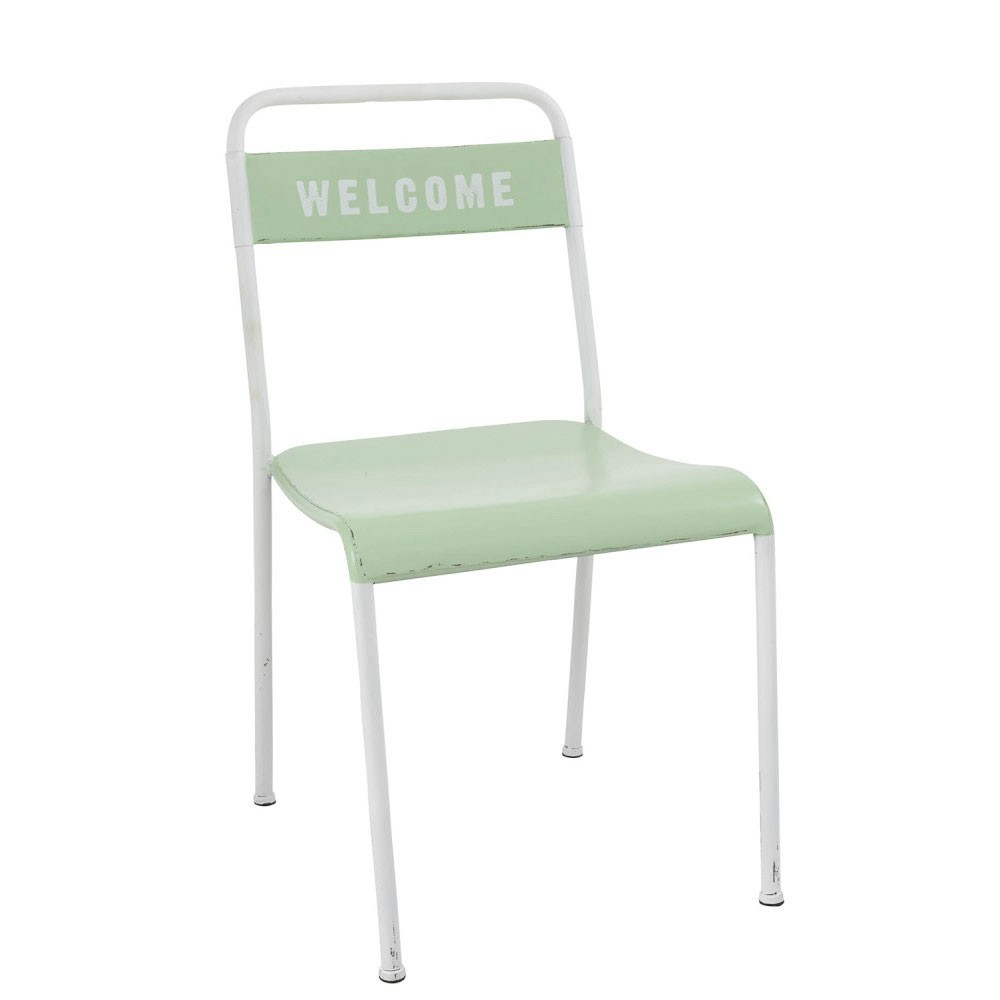 Chaise Welcome Metal Blanc/Vert