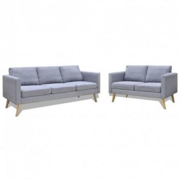 Lot de canapé à 2 places et à 3 places en tissu Gris clair Pieds...