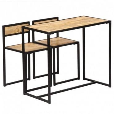 Table + 2 chaises en bois de manguier