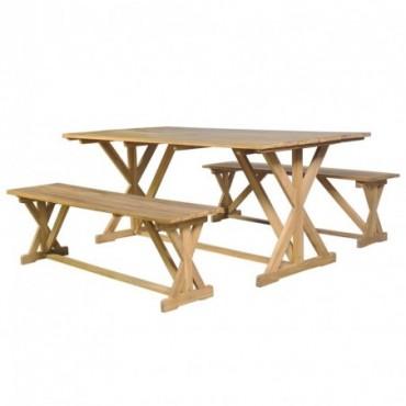 Table de jardin + 2 bancs en bois de en teck massif