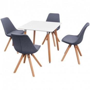 Table à manger + 4 chaises Blanc et gris clair