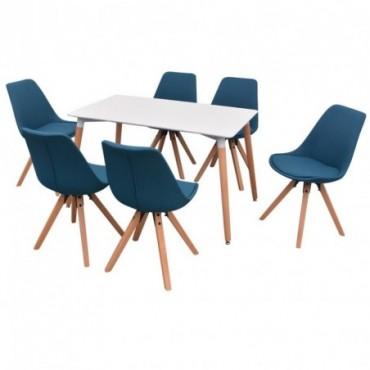 Table à manger + 6 chaises Blanc et bleu