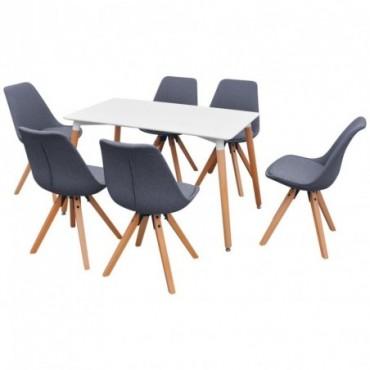 Table à manger + 6 chaises Blanc et gris clair
