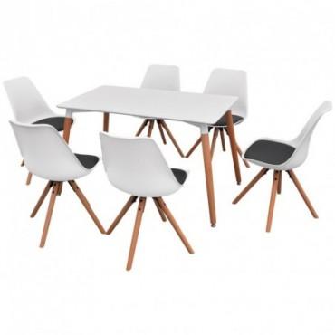 Table à manger + 6 chaises Blanc et noir