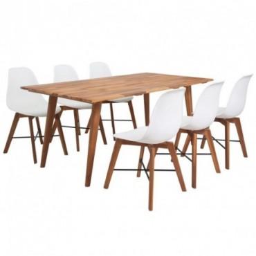 Table à manger + 6 chaises en bois d'acacia massif blanc