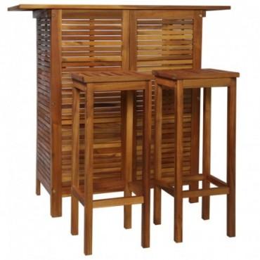 Table haute de bar + 2 chaises hautes en bois d'acacia massif