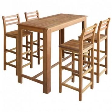 Table haute de bar + 4 chaises hautes en bois d'acacia massif