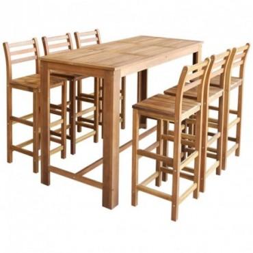 Table haute de bar + 6 chaises hautes en bois d'acacia massif