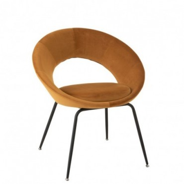 Chaise Ronde Metal/Textile Ocre