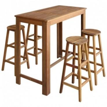 Table haute de bar + 4 tabourets en bois d'acacia massif