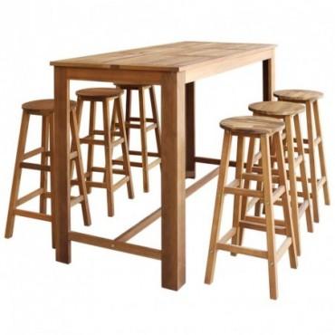 Table haute de bar + 6 tabourets en bois d'acacia massif