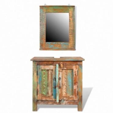 Meuble sous vasque + miroir en bois massif recyclé