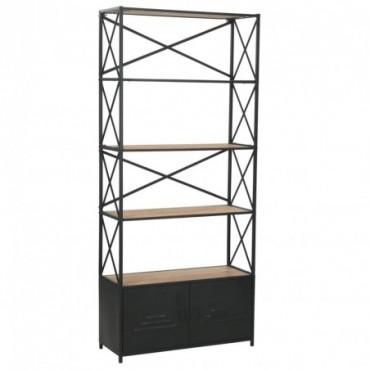Bibliothèque en bois de sapin massif et en acier 80x32,5x180cm