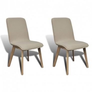 Chaise de table x2 avec cadre en chêne en tissu Beige 53x57x94,5cm...