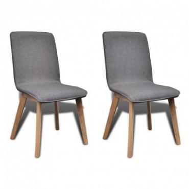 Chaise de table x2 Cadre en chêne en tissu Gris foncé 53x57x94,5cm...