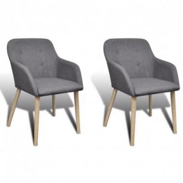 Chaise de table x2 avec cadre en chêne en tissu gris foncé