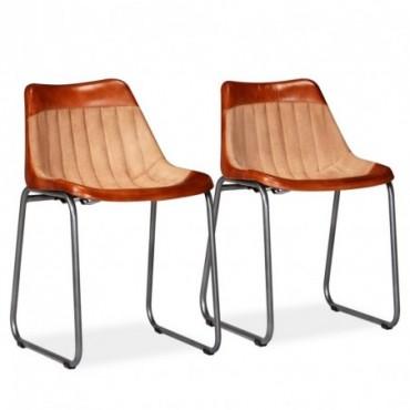 Chaise de table vintage x2 en cuir véritable et toile