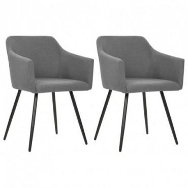 Chaise de table x2 Gris clair en tissu